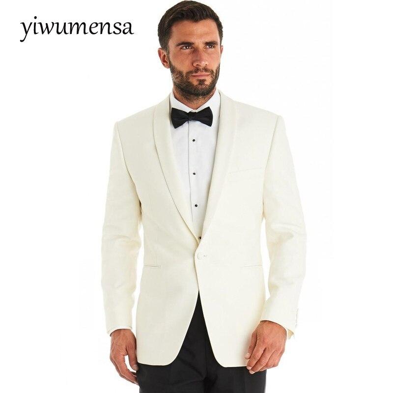2017 Crema Cappotto Con Pantaloni Neri Vestito Degli Uomini Costume Homme Custom Made Skinny Abiti Sposo Abito Da Sposa Per Uomo Terno Masculino Caldo E Antivento