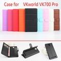 Для VKworld VK700 Pro Телефон Случае Фолио Флип Pure Color Личи Шаблон PU Кожаный Бумажник Чехол Обложка Наличный/Карты слоты
