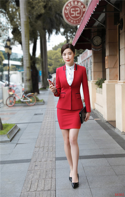 fbc0a93dd143 2019 Formal Elegant Women s Office Uniform Designs Women Business Suits  Skirt suit and Jacket Sets Ladies Red Blazer OL Styles