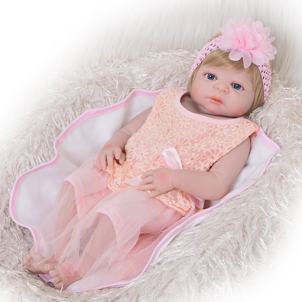 купить 23'' 57 cm Lifelike Reborn Dolls Full Silicone Body Realistic Girl Babies Doll Toy For Toddler Kids Birthday Gift Bedtime Play по цене 4363.4 рублей