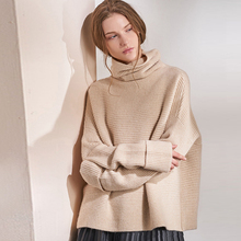 100% Cashmere Sweater Women Simple Loose Design Turteneck Long Sleeves 3 Colors Ladies Pullovers Plus Size Knitwear 2018 Fashion classic design grey long sleeves loose plunge sweater