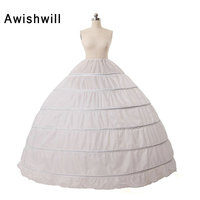 Big White Petticoat for Ball Gown New 6 Hoops Wedding Dress Petticoats Crinoline Underskirt Fast Shipping