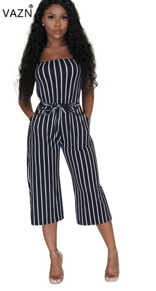 Vazn Summer Hot 2018 Sexy Strapless Jumpsuits Ladies Striped Sleeveless Jumpsuits Women Hollou Out Wide Leg Jumpsuits 9h-9005 Diversified In Packaging Women's Clothing