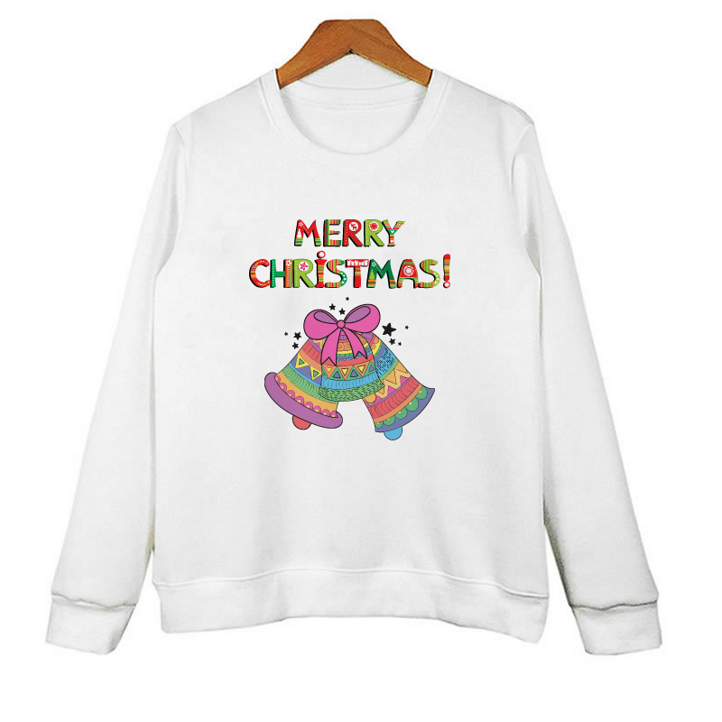 Off White Long Sleeve Hoodie For Men Casual Letter Print Crewneck Sweatshirt Christmas Bell Print Pullover Hoodie Women W-R10001