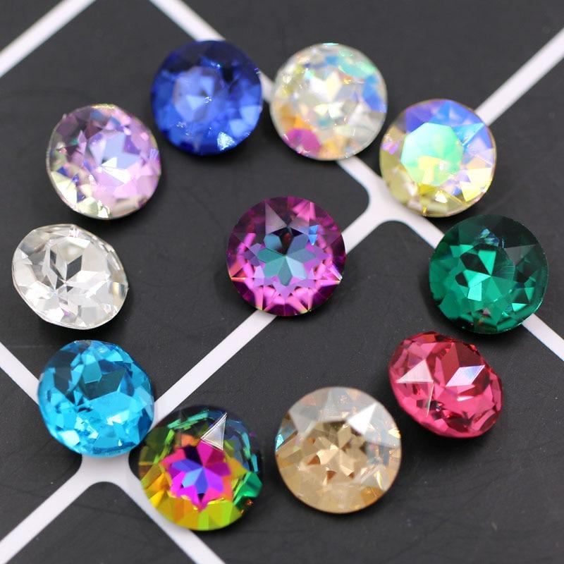 New Arrival Pointback Glue On Glass Rhinestones High Quality Crystal Round Shape Rhinestones Diy Clothing Accessories