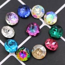 Новое поступление остроконечные клей на стекло стразы Высокое качество Кристалл круглой формы Стразы diy аксессуары для одежды