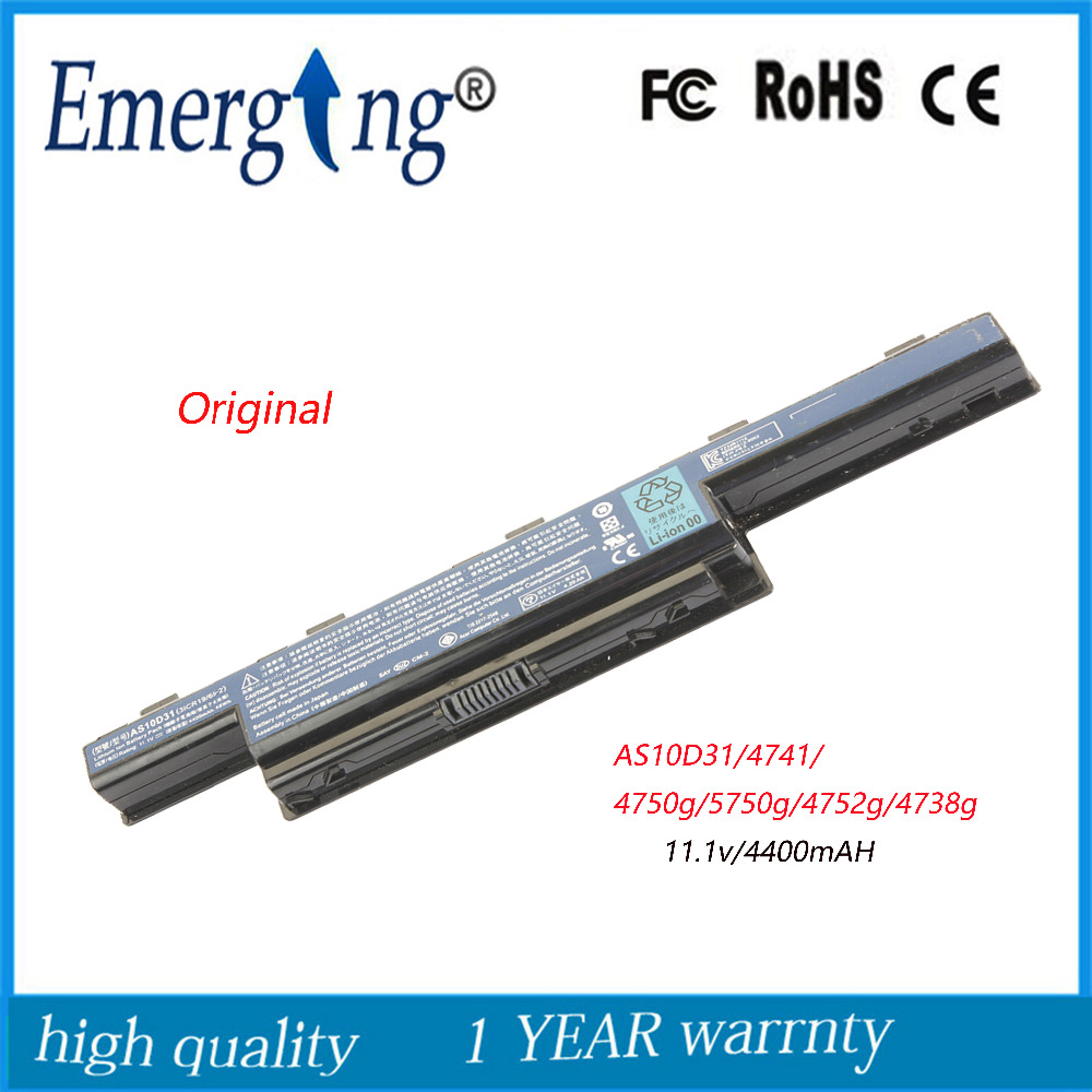 10.8v 48wh Original Quality New Laptop Battery for acer 4738ZG 5741G 5750 5741G 4750G 4741G AS10D31 AS10D41 AS10D51 AS10D61