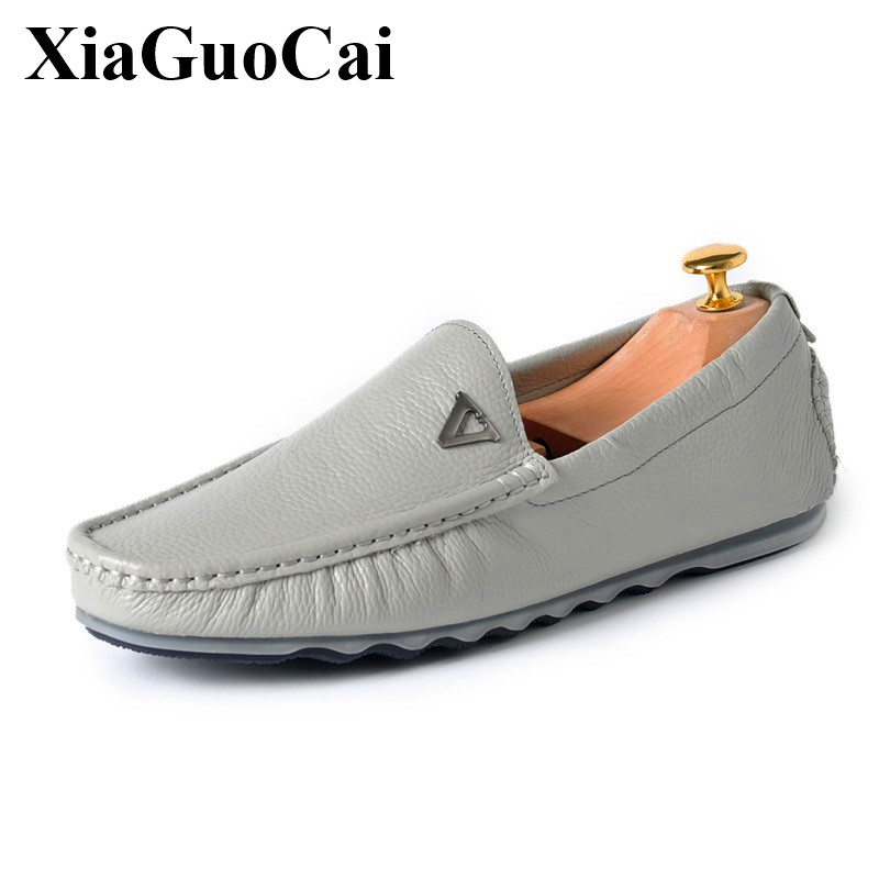 Genuine Leather Moccasins Men Shoes Classics England Slip-on Loafers Black Soft Breathable Leisure Flats Driving Shoes H271 35