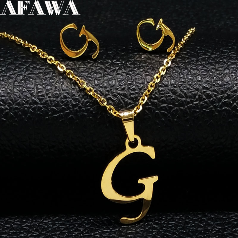 2019 Fashion G Letter Stainless Steel Jewelry Set For Women Gold Color Earrings Necklace Set Jewelry Bijoux Femme 178420