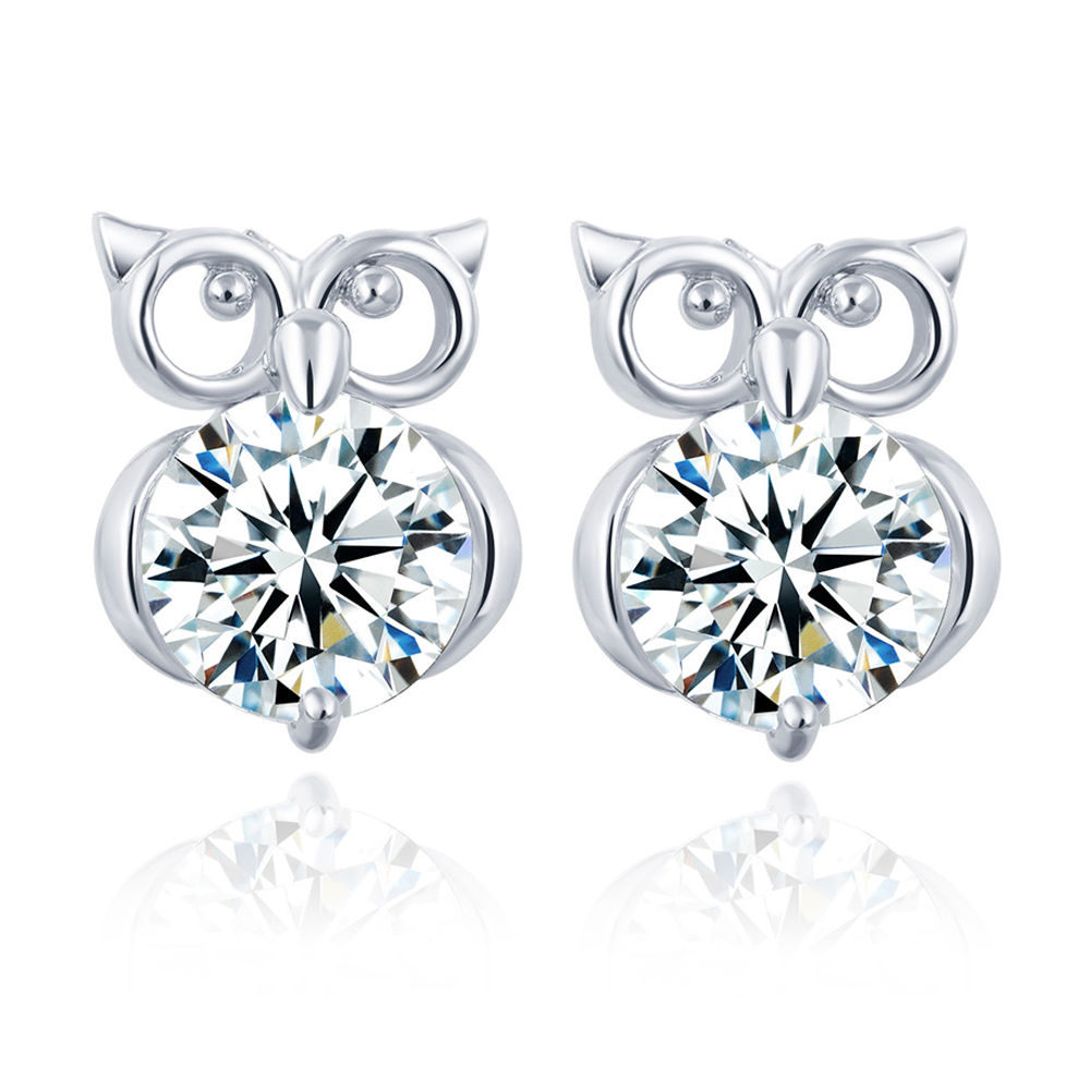 Christmas Gift Silver Color Gold Metal Cute Animal Owl Stud Earrings Women Crystal For Brincos Jewelry In From