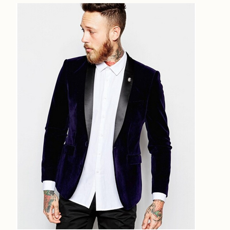 Gwenhwyfar Blazer Suits Tuxedos Wedding Pants Jacket Groom Slim-Fit Velvet Lapel Black