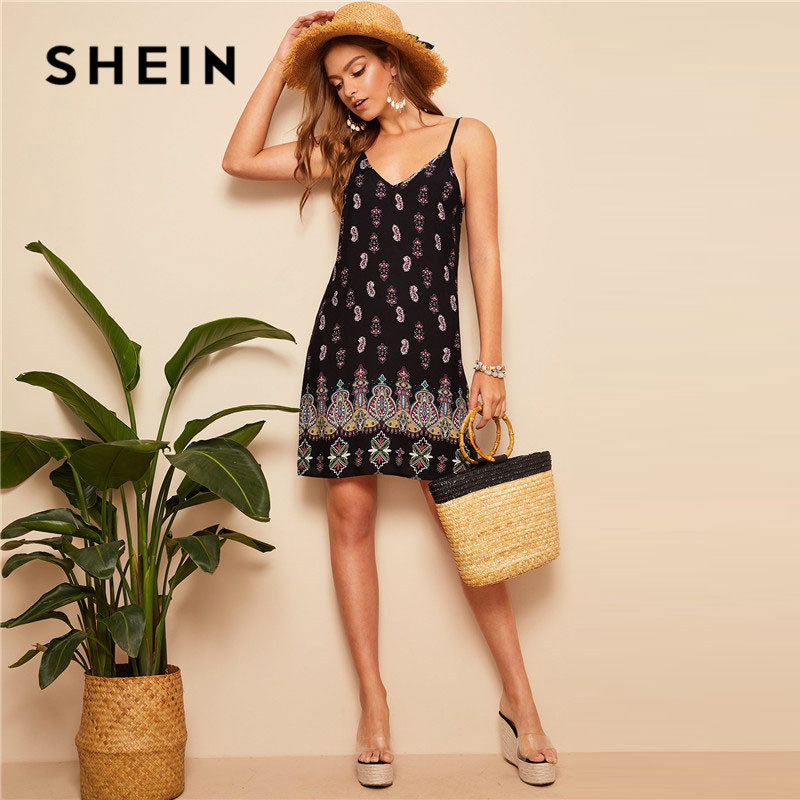 SHEIN Black Sexy Tribal Print Cami Summer Dress Women Boho Beach V Neck Adjustable Spaghetti Strap Backless Mini Dress