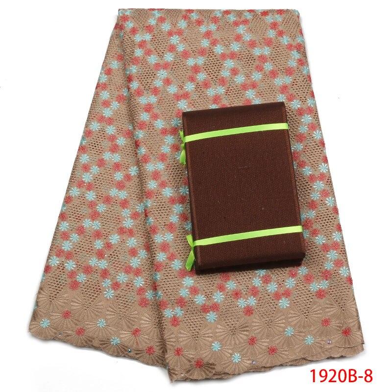 Belle dentelle brodée coton africain dentelle tissu de haute qualité coton dentelle tissu suisse Voile dentelle en suisse APW1920B-2