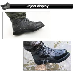 Image 5 - 플라이 낚시 방수 사냥 부츠 업스트림 낚시 신발 펠트 안티 미끄러운 단독 육군 녹색 가죽 레이스 업 남자 fr1