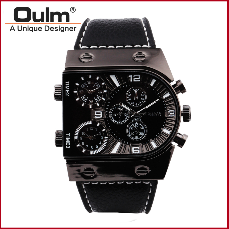 Brand Oulm Watch 9315 Quartz Sports Men Leather Strap Watches Fashion Male Military Wristwatch Cool Relojioes