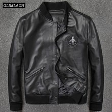 2018 Fashion Genuine Leather Aviation Bomber Jacket Men Casual Black Real Leather Aviator Jacket Sheepskin Motorcycle Streetwear