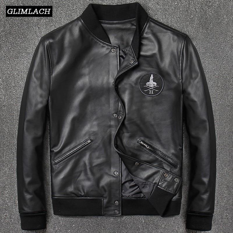 2018 Fashion Genuine Leather Aviation Bomber Jacket Men Casual Black Real Leather Aviator Jacket Sheepskin Motorcycle Streetwear