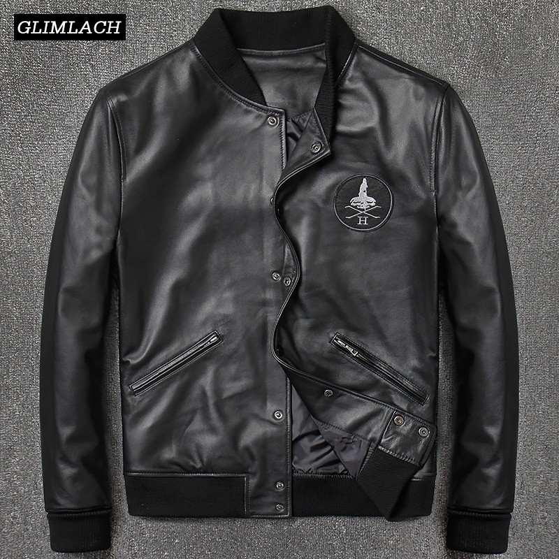 2019 Fashion Genuine Leather Aviation Bomber Jacket Men Casual Black Real Leather Aviator Jacket Sheepskin Motorcycle Streetwear
