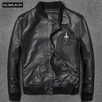 2019 Fashion Genuine Leather Aviation Bomber Jacket Men Casual Black Real Leather Aviator Jacket Sheepskin Motorcycle Streetwear