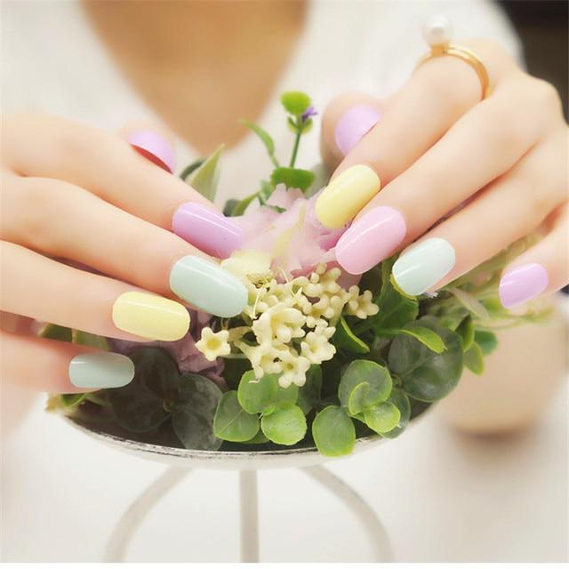 16Pcs Friendly UV Gel Nail Polish Strip Candy Color Fashion Applique ...