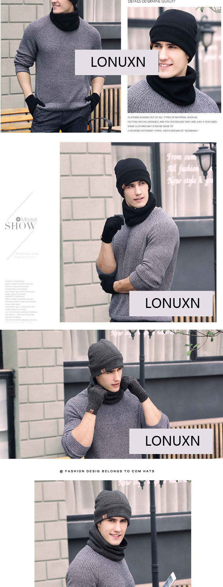 2df921753e0 3 pieces lot new style solid winte plus cashmere knitted hat + Head ...