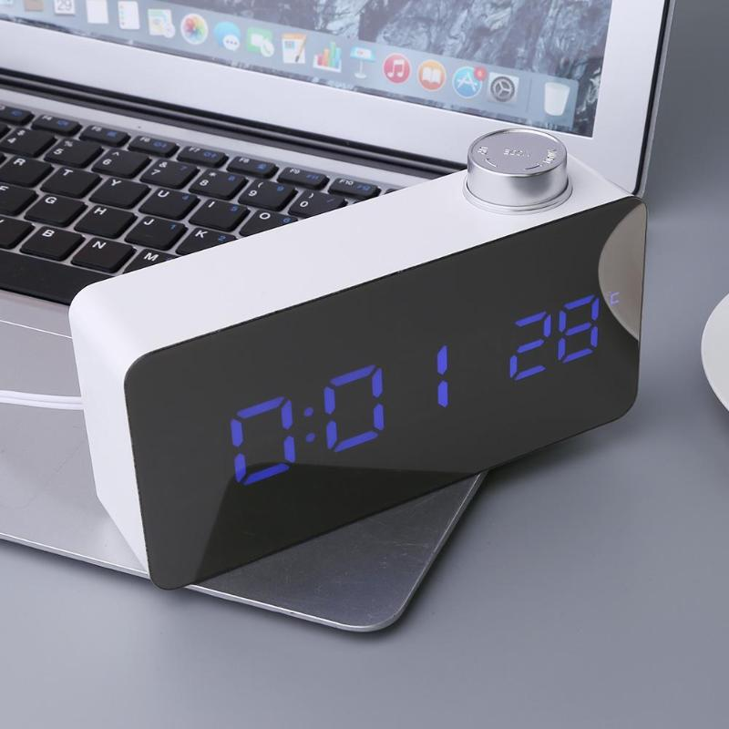 Digital Blue LED Alarm Knob 12H/24H Alarm Snooze Mirror Clock 3 Modes Brightness Adajust Thermometer Electronic Clock