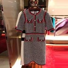 2017 new arrival women o-neck half sleeve decoration pearl button slim sweater one-piece vestidos pencil dress