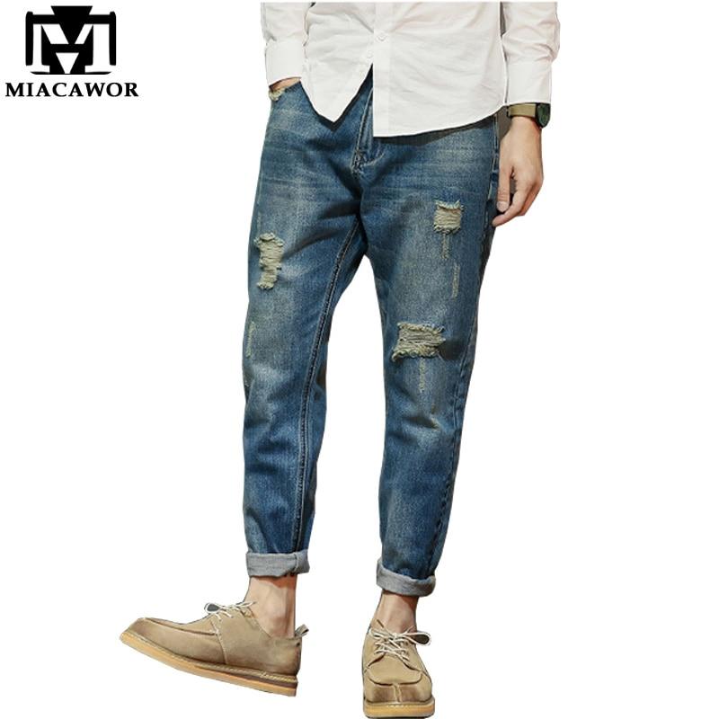 MIACAWOR 2017 New Hole Jeans Men Spring Casual Men Denim Pants Harem Jeans Homme Plus Size MCK094