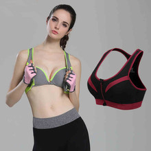 2016 New Women Zipper Sports Bra Push Up Shockproof Top Underwear with Inner Pad Running Gym Fitness Jogging Yoga