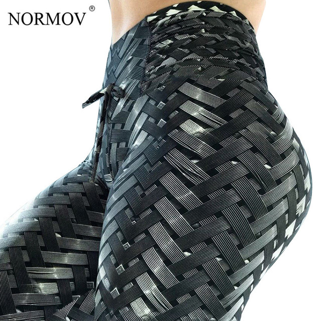 NORMOV Women Leggings High Waist Mesh Fitness Clothing Legging Femme Push Up Workout Leaf Printing Stitching Legings