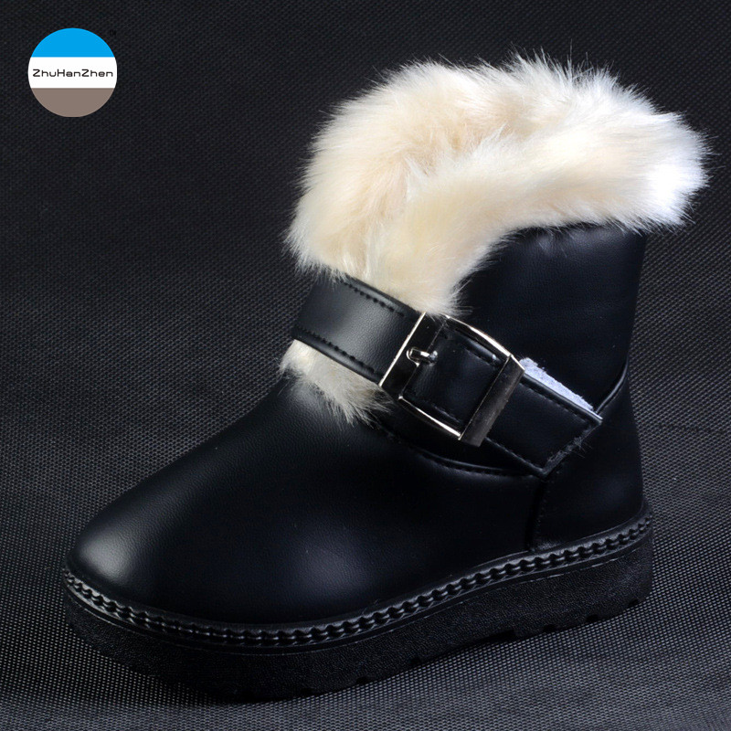 Toddler Kids Infant Winter Casual Strap Warm Faux Fur Suede Boots Shoes Zipper