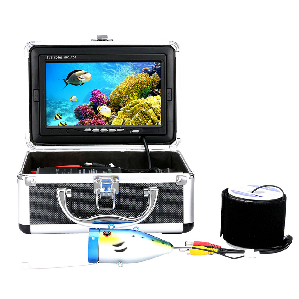 High Quality Fish Finder 20/30M 1000tvl Underwater Fishing Video Camera Kit 12 PCS LED Lights with7 Inch Fishing Tool 30m video