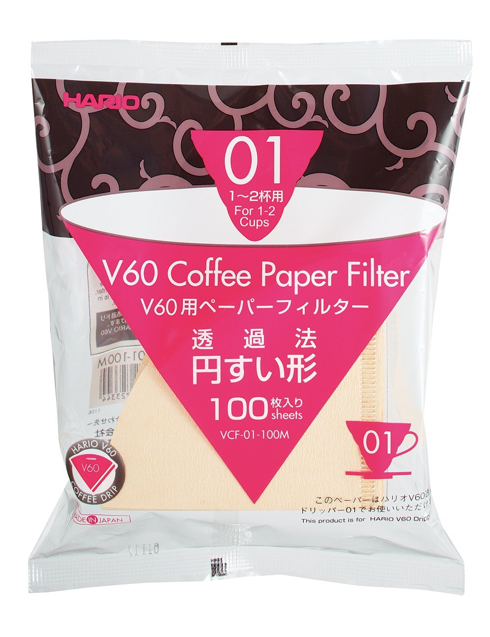 Hario vcf 01 Coffee Natural Paper Filters No bleach for 2 cups for Barista VCF-01 suitable for vd-01