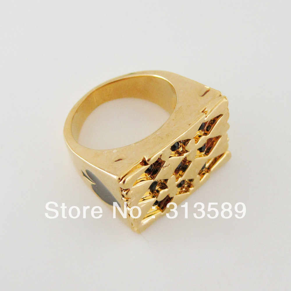 Новое-желтое золото GP с покрытием POKER SIGN кольцо с черными фианитами SZ 7 8 9 10/отличный подарок/