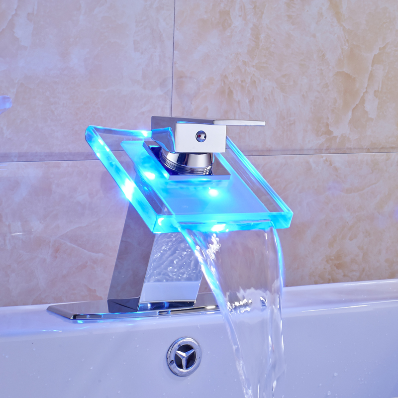 Free Shipping LED Light Changing Bathroom Sink Faucet Waterfall ...