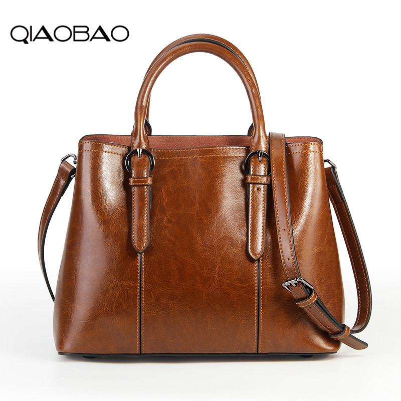 QIAOBAO 100% Genuine Leather Casual Tote New Fashion Women Handbags Large Capacity Female Messenger Bags Big Shoulder Bag Tote luxury fashion new women handbags genuine leather female shoulder bag big first layer cowhide simple large capacity tote bags