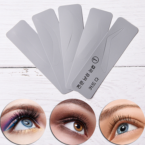5pcs/set Eye Brow DIY Drawing Guide Styling Shaping Grooming Template Card Makeup Beauty Kit Men Reusable Eyebrow Stencil Set