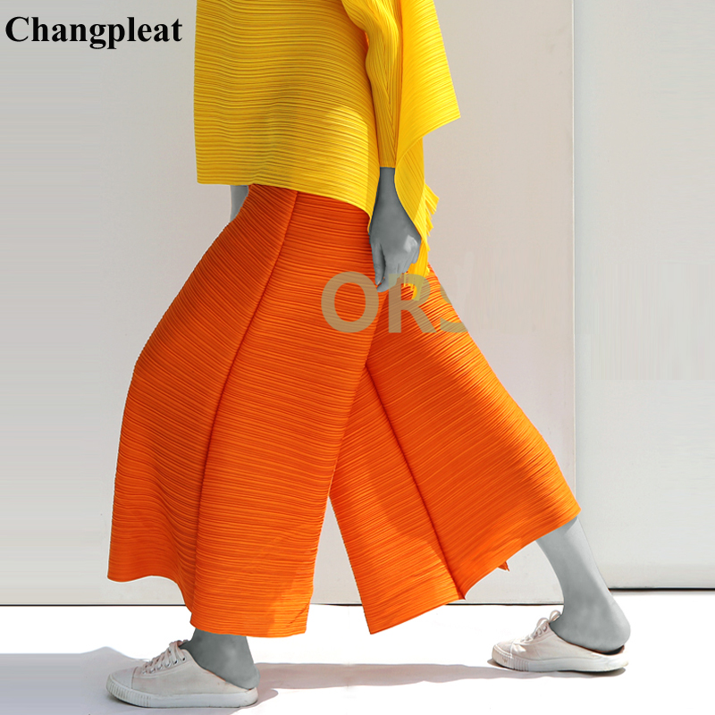 Changpleat Spring New Women   Wide     leg     pants   Miyak Pleated Fashion Design Loose Large Size Solid Elastic waist Female   Pants   Tide