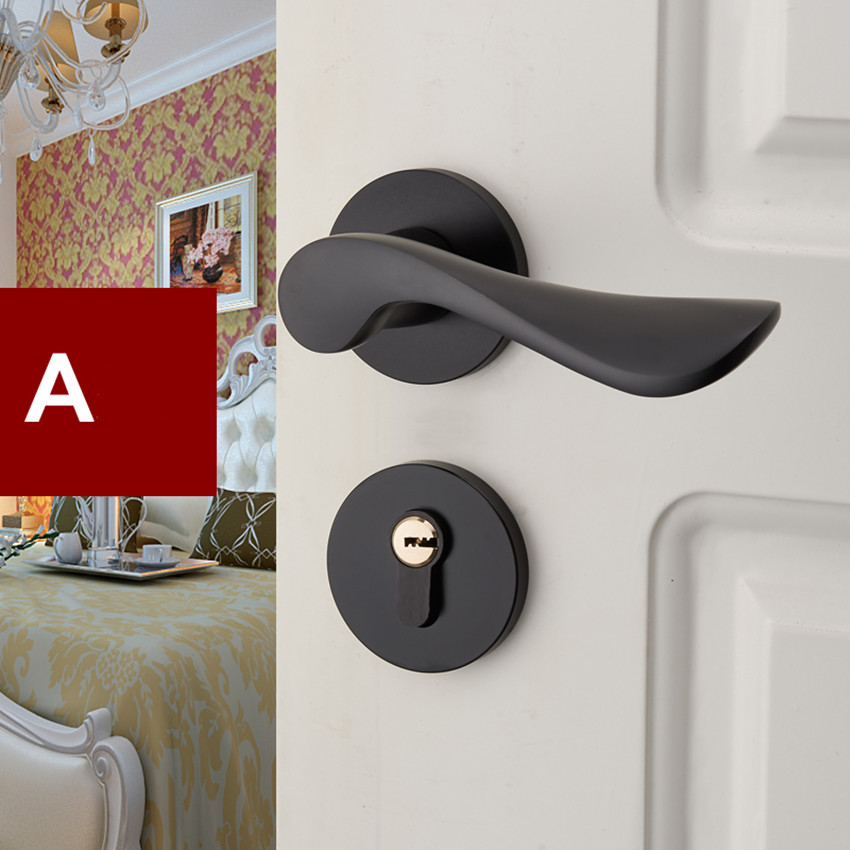 modern simple indoor locks matte black bedroom kitchen door locks fashion antique black Split lock  handles lock european fashion ivory white bedroon door handles antique bronze mute wooden door lock gold indoor locks modern simple