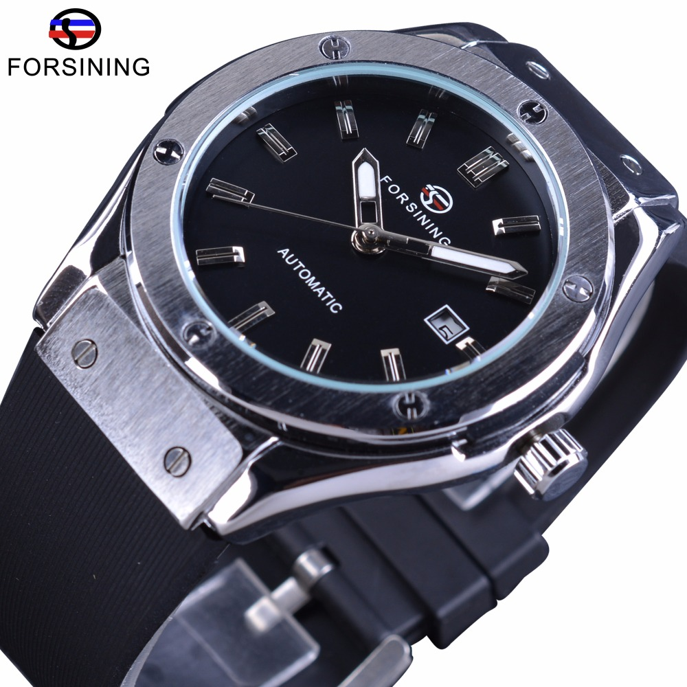 Forsining Calendar Luxury Silicone Band Clock Mens Watches Top Brand Luxury Mechanical Military Automatic Men Sport Wrist Watch winner sport racing style rubber band mens watches top brand luxury automatic fashion watch mechanical clock men white dial