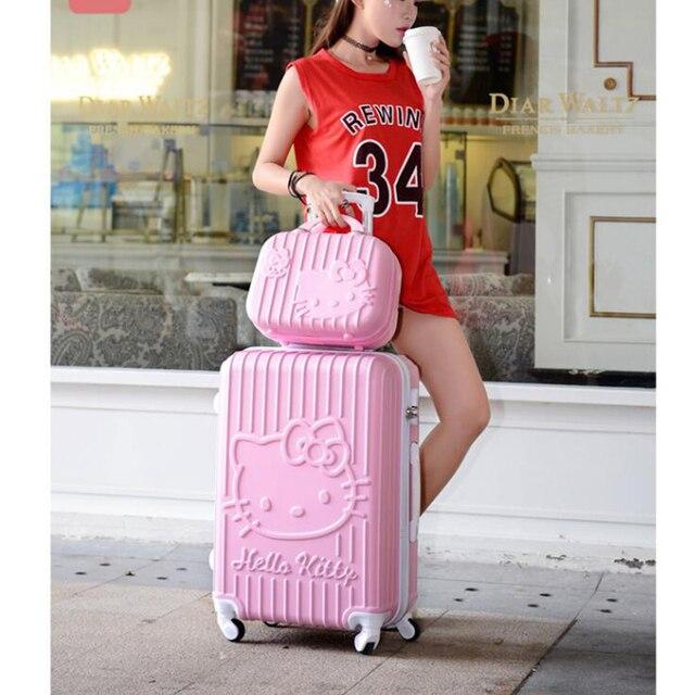 """CARRYLOVE 20 """"24"""" olá kitty meninas cabine conjunto mala de viagem com rodas de carrinho de bagagem rolando"""