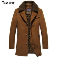 TANGNEST Men Wool & Blends 2018 New Fashion Winter Men's Long Plus Thick Warm Wool+Polyester Men's Coat Jacket MWN157