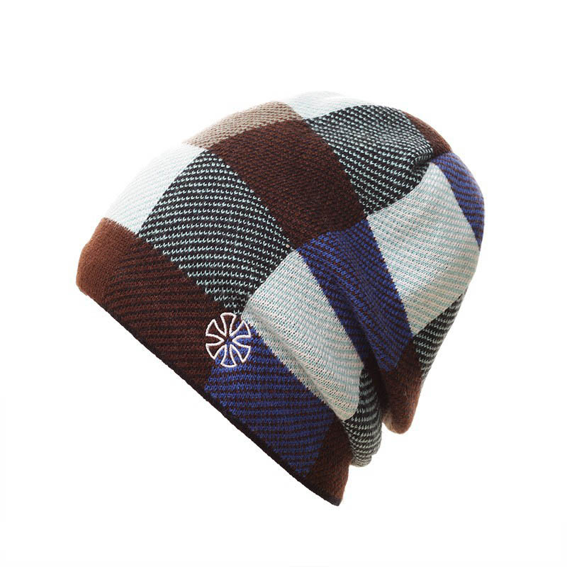 2016 Casual Hat Winter Ski Skating Caps Plaid Warm Winter Knitted Hat Snowboard Beanies For Men Women Toucas De Inverno 4 Color
