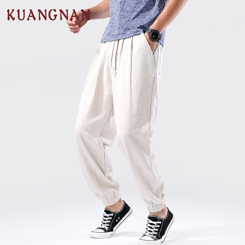 KUANGNAN Linen Pants Trousers Men Men Jogger Japanese Streetwear Chinese-Style Ankle-Length