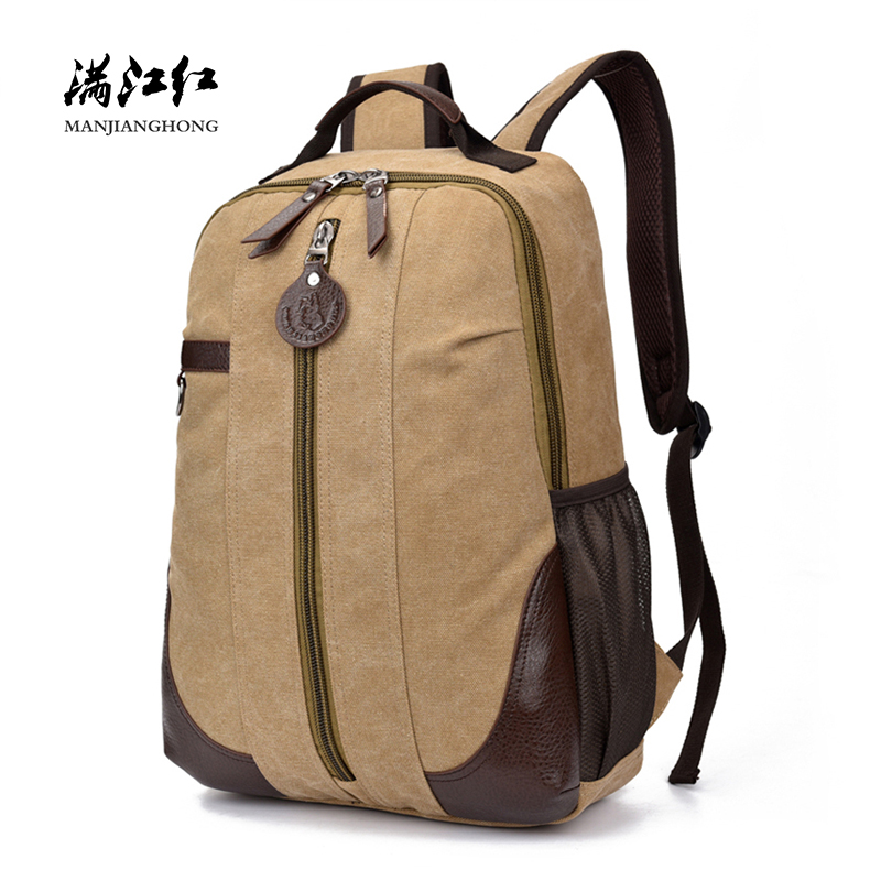 Fashion Men Travel Backpack Canvas Patchwork Leather Male Laptop Backpack Computer Bag 15 Inch Casual School Bags For Boys 1304