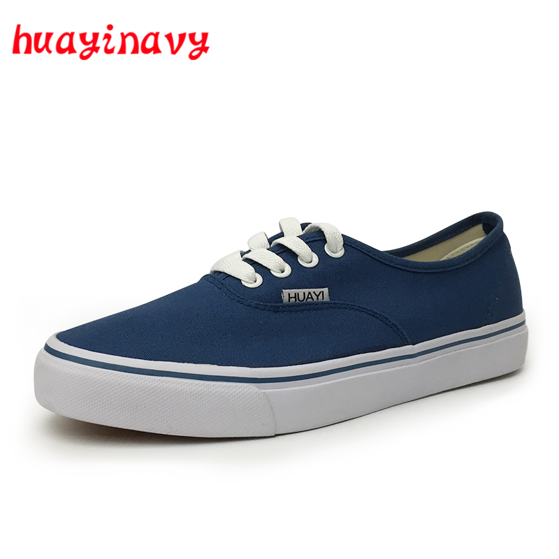 huayi navy Fashion Men Shoes Casual Flat White Canvas Shoes 2018 Spring Summer Comfortable Vulcanized Shoes For Men V01