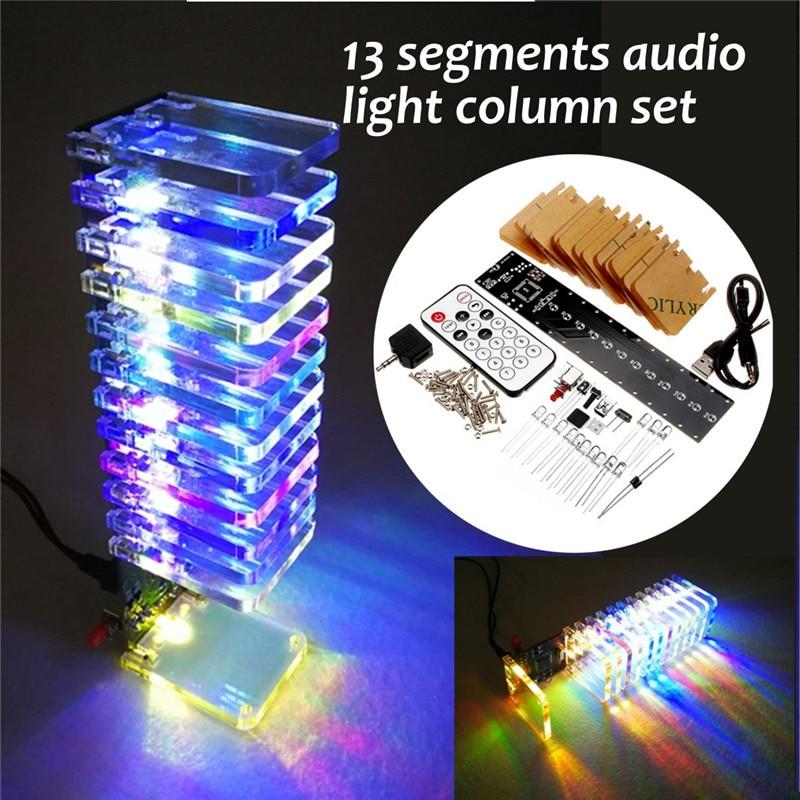 Cheap Price Single-chip Optical Cube Kit Electronic Diy Production Parts Led Music Spectrum 21-segment Audio Light Column Novelty & Gag Toys