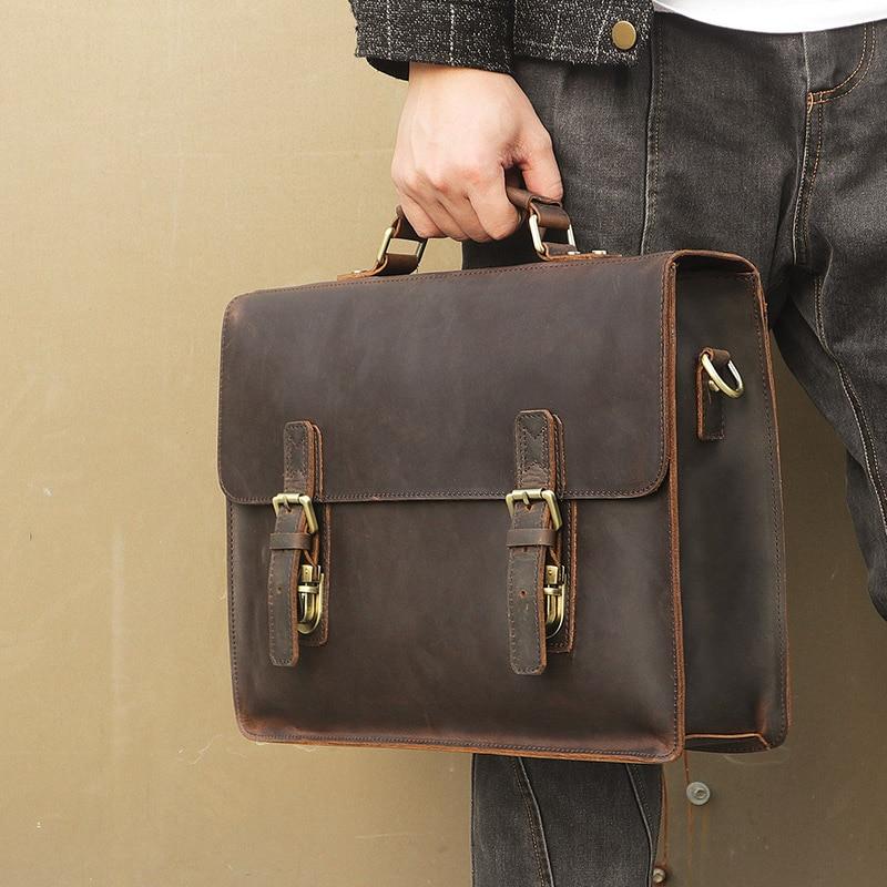 Nesitu High Quality Vintage Brown Real Genuine Leather Men Leather Briefcase 14 inch Laptop Bag Men