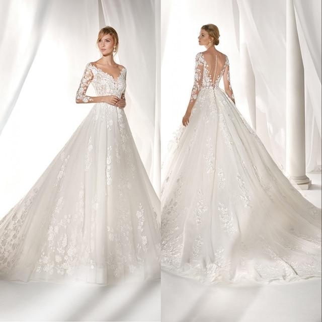 Simlple Seda Organza vestido de Noiva 2019 nova Luxyry Sexy Ilusão de Decote Em V Vestido de Casamento Da Noiva de renda Vestido de novia Robe de mariee