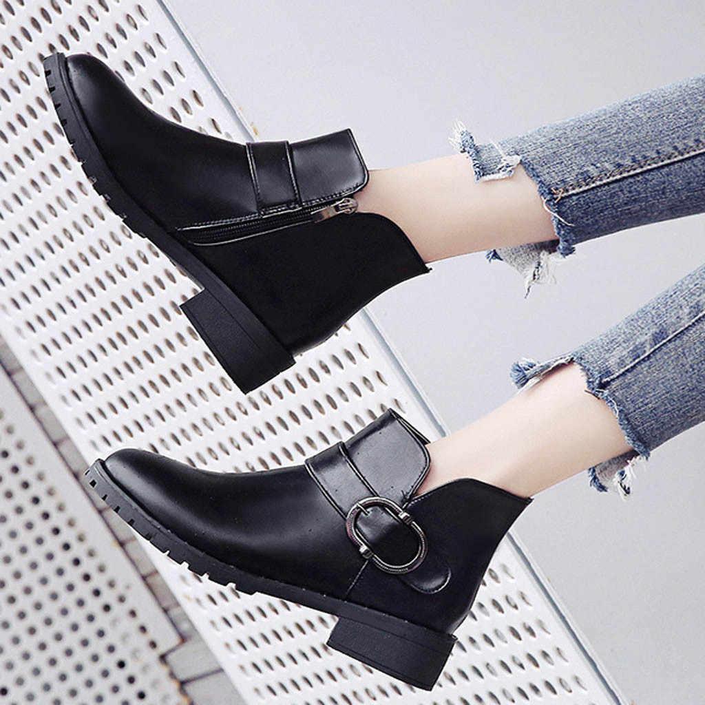 Perimedes kadın Çizmeler Toka Düz Bayan Botları Slip-On Yuvarlak Ayak Çizmeler Fermuar Akın lastik çizmeler Kadınlar Için bota feminina
